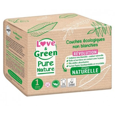 Couches écologiques Love and green Pure nature taille-1