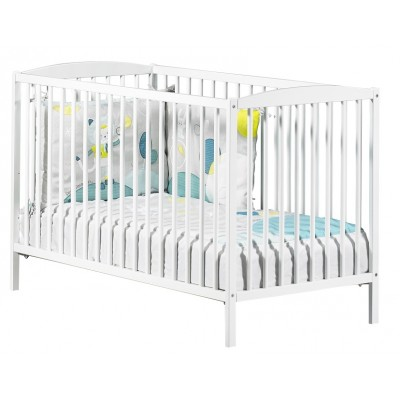 Lit bébé (120 x 60) Baby Price à barreaux blanc new Basic