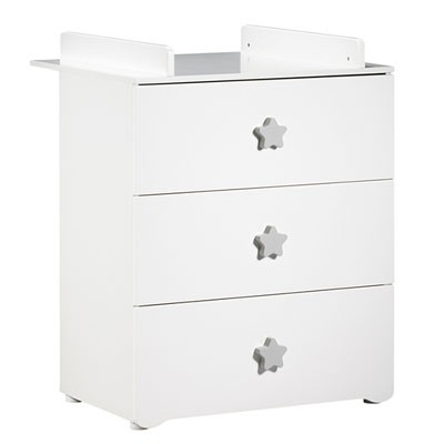 Commode à langer Baby Price blanche, 3 tiroirs boutons étoile grise